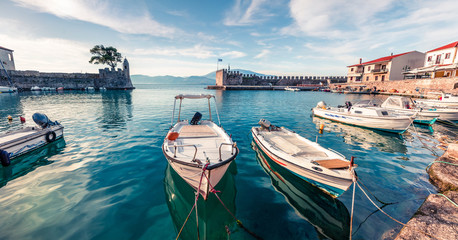 Sunny spring panorama of Nafpaktos port. Splendid morning scene of Gulf of Corinth, Greece, Europe. Beauty of countryside concept background. Beauty of countryside concept background.