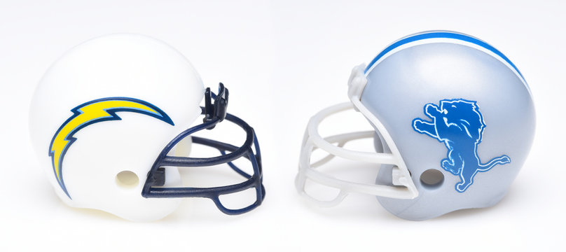 IRVINE, CALIFORNIA - SEPTEMBER 6, 2019: Football helmets of the Los Angeles Chargers vs Detriot Lions, Week 2 opponents in the NFL 2019 Season