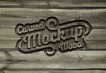 Carved Wood Effect Mockup