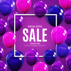 Abstract Designs Sale Banner Template with Balloons. Vector Illustration