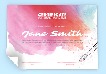 Achievement Certificate Layout with Watercolor Elements