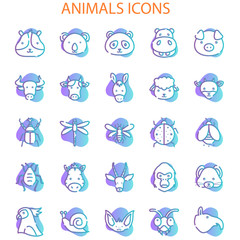 Animals Face With Gradient Iconset