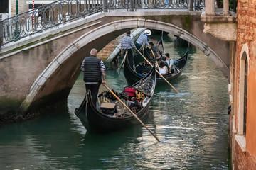 Gondolas Under Bridge