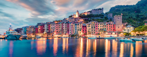 Foto op Plexiglas Zalm Fantastic spring panorama of Portovenere town. Splendid evening scene of Mediterranean sea, Liguria, province of La Spezia, Italy, Europe. Traveling concept background.