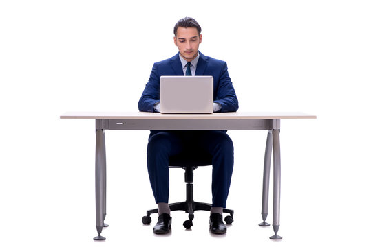 Employee working isolated on white background