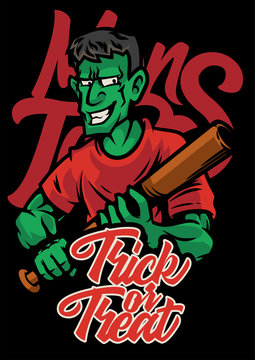 zombie man holding baseball bat halloween posters with trick or treat custom lettering on black background and monsters lettering vector illustration
