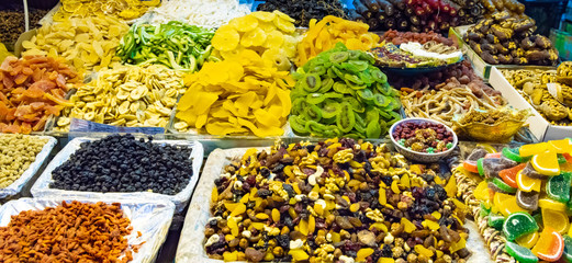 Turkish delight sweets, fruits, nuts at Spice Market or Grand Bazaar in Istanbul Turkey