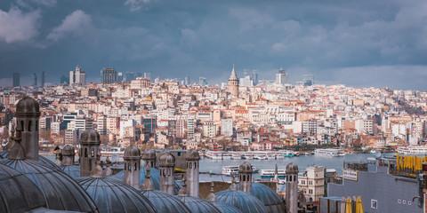 view from Suleymaniye mosque to Bosphorus, Istanbul, Turkey