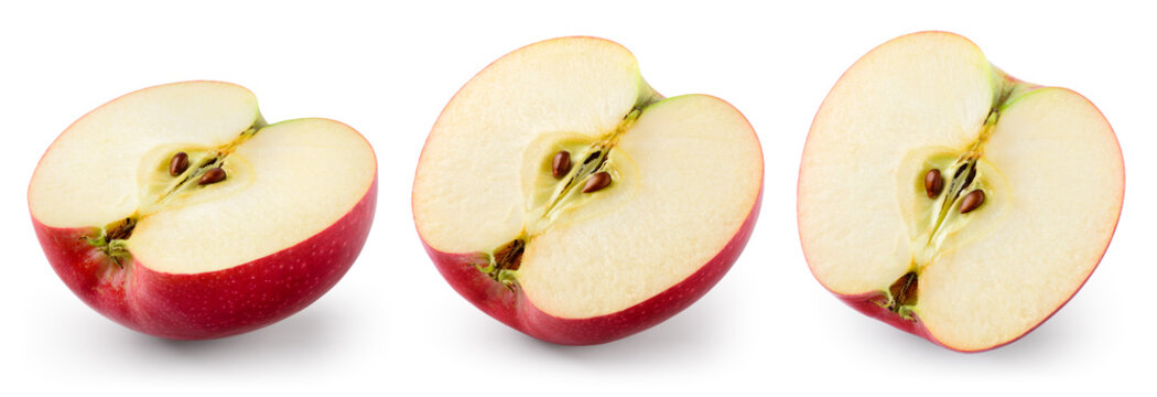 Red apple isolate. Cut apples on white. Apple slice set with clipping path.