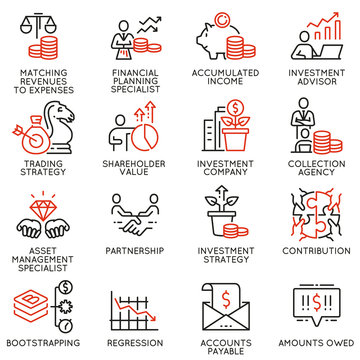 Vector set of linear icons related to investment, financial advice and business management. Mono line pictograms and infographics design elements - part 2