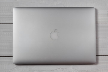 Macbook pro on wooden table