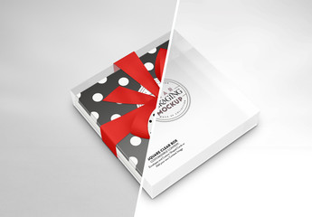Clear Square Box with Ribbon and Gift Tag Mockup