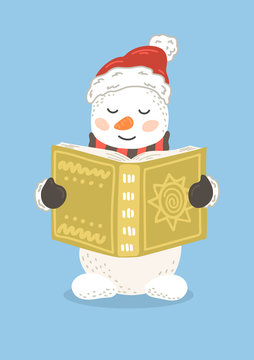 Snowman in Christmas hat reading book. Cute children illustration.