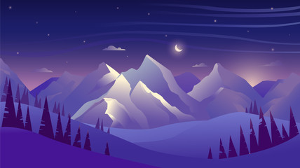 Photo sur Toile Violet Mountains and forest at night, sky with clouds and stars, beautiful landscape
