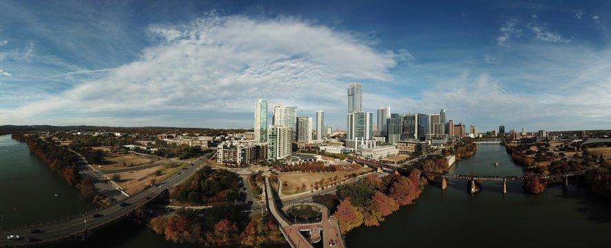 Austin Texas from the Skyline in Autumn