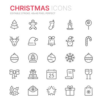 Collection of christmas related line icons. 48x48 Pixel Perfect. Editable stroke