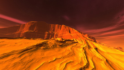 Aluminium Prints Orange Glow 3D illustration of a fantastic mountain landscape on an alien planet