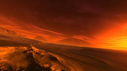 Canvas Prints Magenta 3D illustration of a fantastic sunrise on an alien planet. Dramatic extraterrestrial landscape