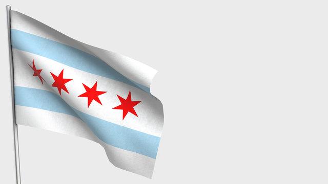 Chicago waving flag illustration on flagpole.