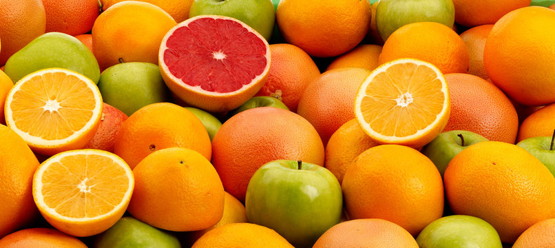 Oranges, Apples and Grapefruits in a pile