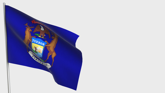 Michigan waving flag illustration on flagpole.