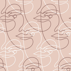 Seamless vector pattern with one line art drawing of a face