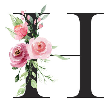 Floral alphabet, letter H with watercolor flowers and leaf. Monogram initials perfectly for wedding invitations, greeting card, logo, poster and other design. Holiday design hand painting.