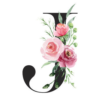 Floral alphabet, letter j with watercolor flowers and leaf. Monogram initials perfectly for wedding invitations, greeting card, logo, poster and other design. Holiday design hand painting.