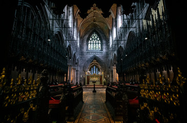 Chester, UK - August 14 2019: Interior view of the magnificent Chester Cathedral in the city of Chester, UK