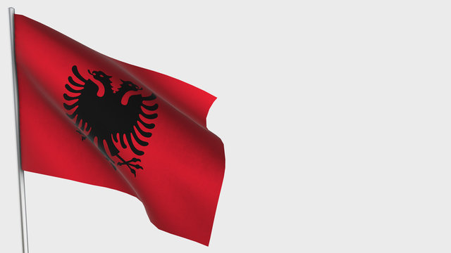 Albania waving flag illustration on flagpole.