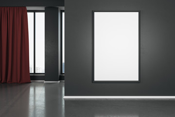 Blank white mock up poster on dark wall in modern living room with wooden floor and red curtain.