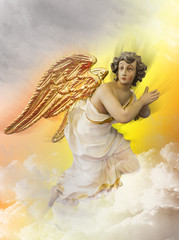 Wall Mural - Angel kneeling on a cloud in heaven. Religious background.