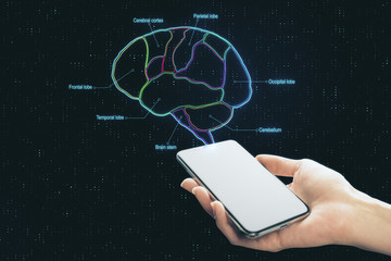 Hand with smartphone screen and digital brain scheme marked by neon lines.