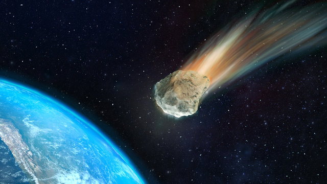 3d illustration asteroid towards to the Earth D