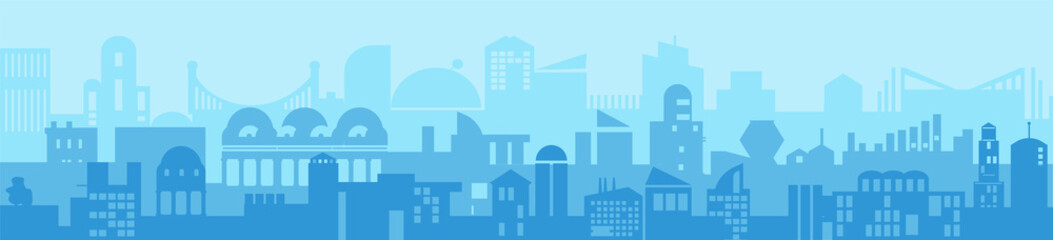 City Skyline silhouette detailed - abstract futuristic Modern business background. Vector illustration