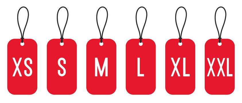 Clothing size labels set: XS, S, M, L, XL, XXL. Vector illustration
