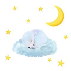 Cute newborn bunny. Night drawn illustration. Can be used for t- shirt prints, kids nursery wear fashion design, baby shower invitation card