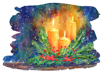 Christmas candle,spruce wreath and poinsettia flower. New year decoration and snowflakes.Watercolor hand drawn illustration.