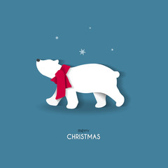 Christmas greeting card in paper cut style. Polar bear on blue background.