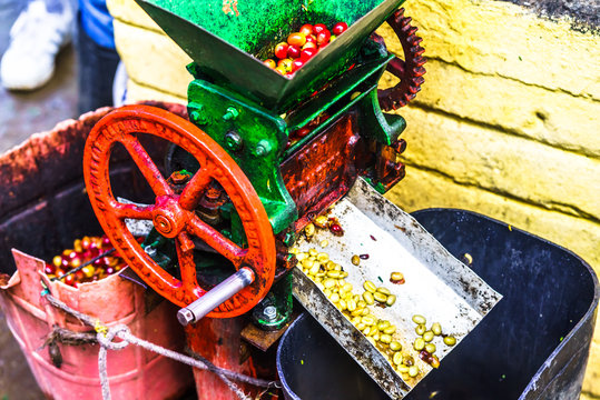 View on traditional coffee grinder machine on Colombian farm