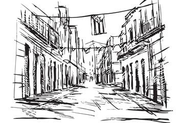 Rysynek ręcznie rysowany. Ulica w Hawanie - fototapety na wymiar