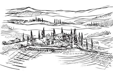 Obraz Rysynek ręcznie rysowany. Toskański pejzaż we Włoszech w Europie - fototapety do salonu