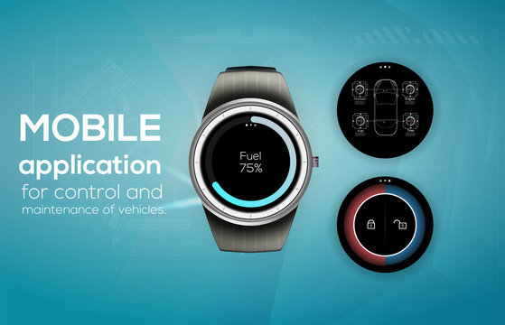 Different UI, UX, GUI screens cars app for watch, responsive website including. Web design and mobile template. Cars Diagnostic Dashboard and open, close cars.