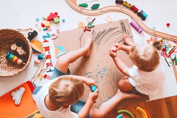 Obraz Kids draw and make crafts. Kindergarten or preschool background. - fototapety do salonu