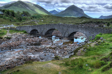 Stony bridge on Isle of Skye in Scotland