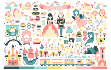 Princess Set. Fairy kingdom, prince, fairy, unicorn, dragon, castles, carriage, and much more. Vector illustration in cartoon scandinavian style. Perfect for invitations, cards, textile prints.