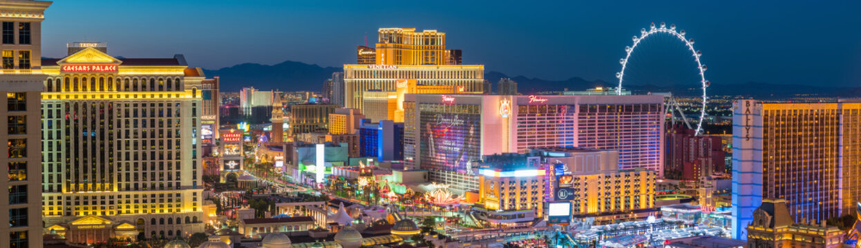 Panoramic view of the Las Vegas Strip in United States