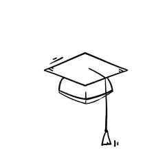 Graduation hat icon vector Education sign with handdrawn doodle cartoon style