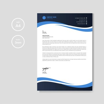 Professional blue letterhead graphic template