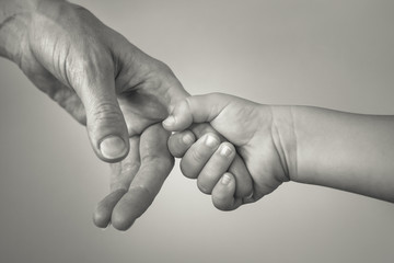 closeup of little child holding mothers hand